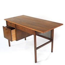 Load image into Gallery viewer, Mid Century Modern Walnut and Cane Desk with Chair