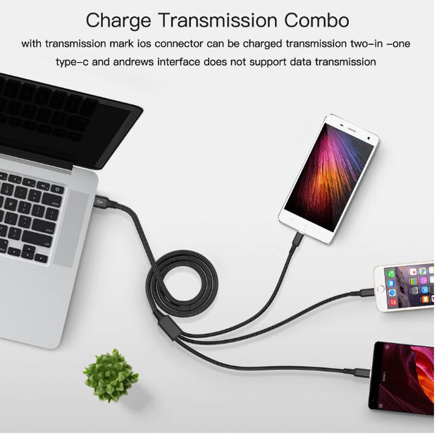 3 in 1 USB Cable For iPhone XS/Samsung S9 Charger 3 in 1 USB Cable TypeC Micro USB
