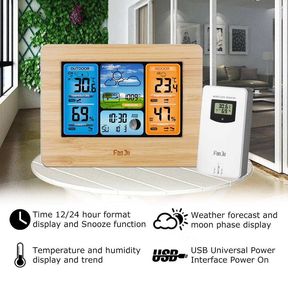 Pocket weather station Digital Weather Forecast Station Wall Alarm Clock Temperature Humidity Backlight Snooze Function