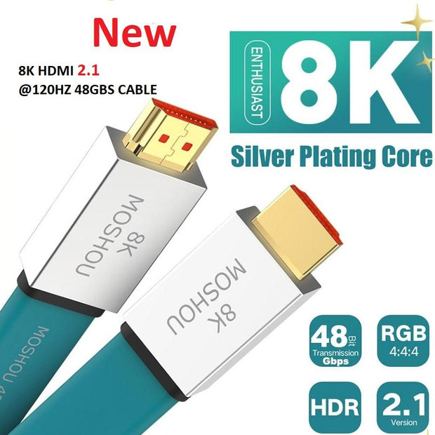HDMI 2.1 4K/8K@120Hz 48Gbs Cable Ultra-HD (UHD) Male to Male Audio Video Cable 1M 2M 5M 10M 15M HDR 4:4:4