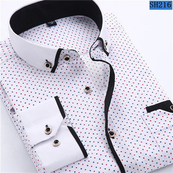 2018 Newest Men's Fashion Casual Long Sleeved Printed shirt Slim Fit Male Social Business New Design Dress Shirt Brand Men Clothing Soft & Comfortable