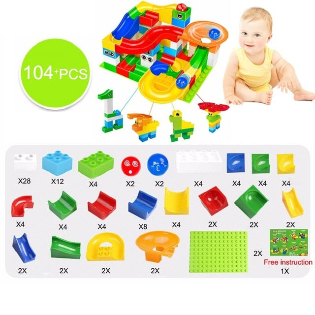 104-208PCS Marble Race Run Maze Ball Track Building & Blocks Plastic  Covered Funnel Slide Big Size Bricks Compatible Legoingly Duplo Block