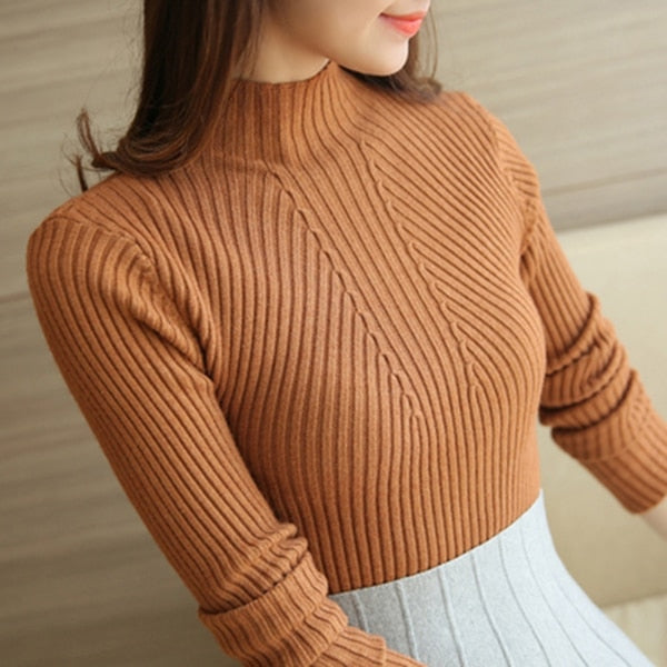 Sweater Turtleneck Women's Autumn Winter Fashion Black Tops Women Long Sleeve Jumper Clothing