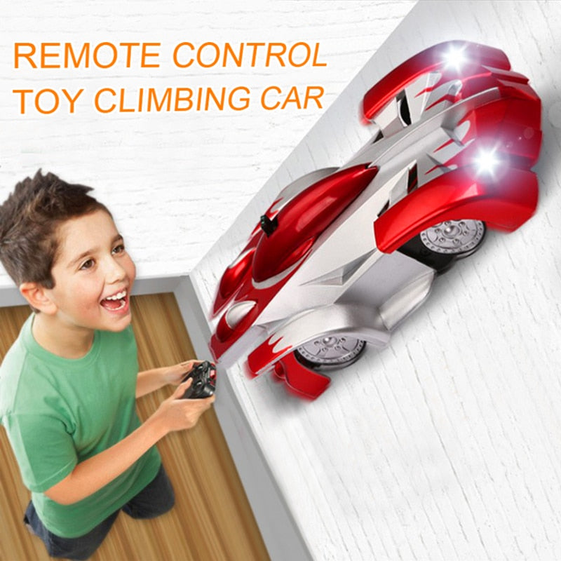 Remote Control Wall Climbing RC Car with LED Lights 360 Degree Rotating Stunt Toys Antigravity Machine Wall Racer for children