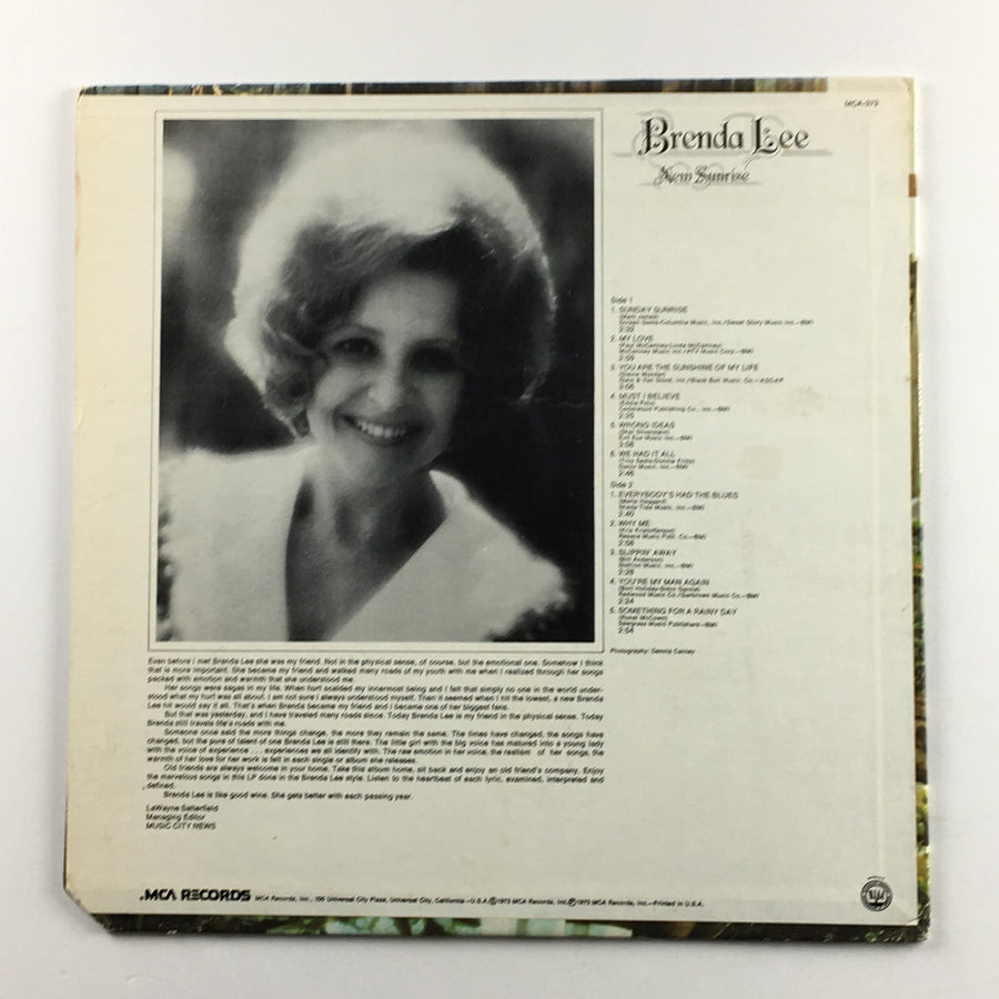 Brenda Lee ‎– New Sunrise Orig Press Used LP VG+\VG MCA-373