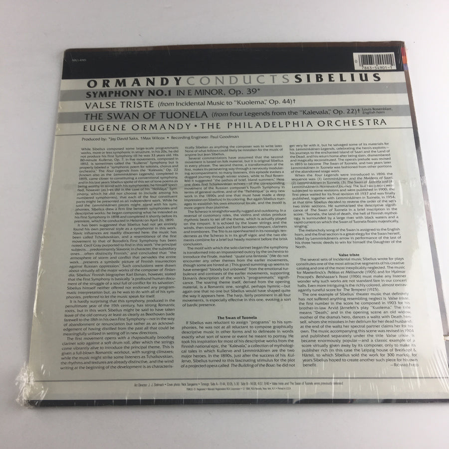 Ormandy Conducts Sibelius Used Vinyl LP NM\VG+ ARL1-4901