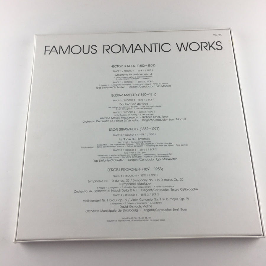 Berlioz Mahler Prokofiev Stravinsky Famous Romantic Works 4 LP Used Vinyl Box Set NM 9107/4