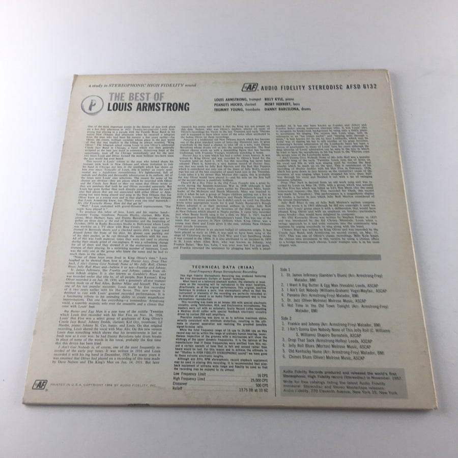 Louis Armstrong The Best Of Louis Armstrong Used Vinyl LP VG AFSD 6132