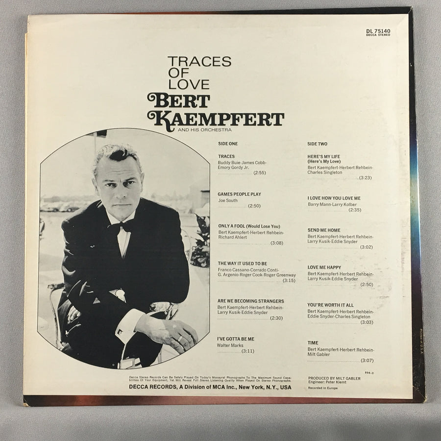 Bert Kaempfert And His Orchestra ‎– Traces Of Love - Used LP - VG+