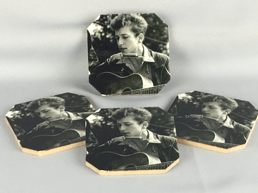 Young Bob Dylan Coasters - Set of Four - Unique Gifts