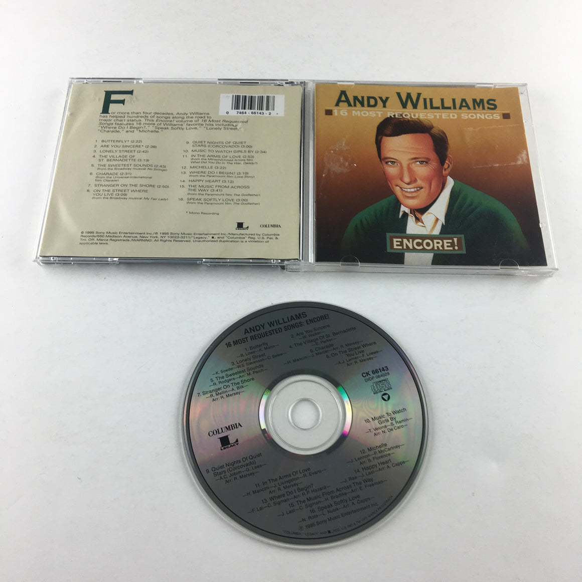 Andy Williams 16 Most Requested Songs: Encore! Used CD VG+ CK 66143