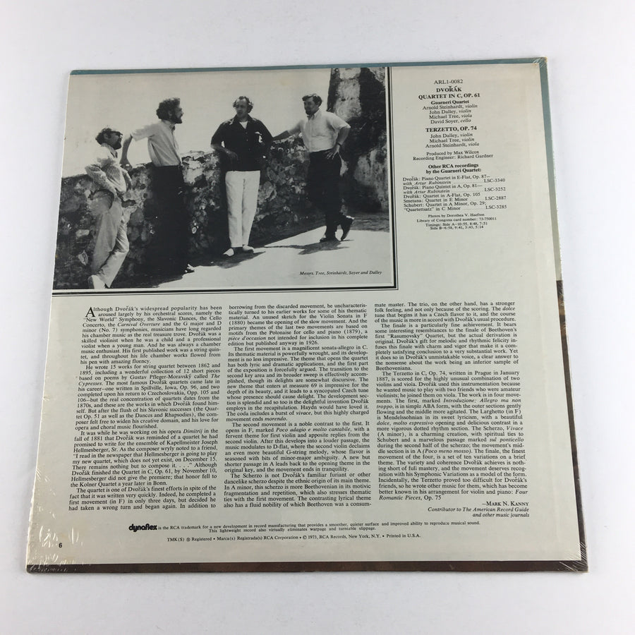 Dvorak Guarneri Quartet In C Op. 61 Terzetto Op. 74 New Vinyl LP NM ARL1-0082