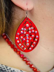 Red Sarah Earrings by Sagebrush Sally's