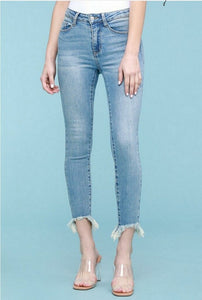 Kate Distressed Hem Jeans by Judy Blue