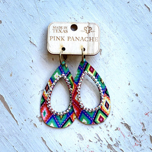 Pink Panache Aztec Teardrop Serape Earrings