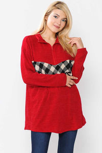 Red Plaid and Leopard Women's Pullover