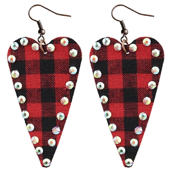 Plaid Heart Earrings