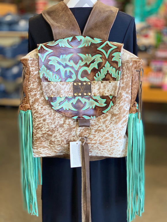 Turquoise Mesa Keep It Gypsy LV Accent Leather Backpack