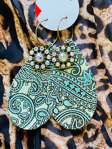 Tooled Leather Turquoise Earrings
