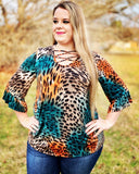 Jewel Criss Cross Leopard Women's Top