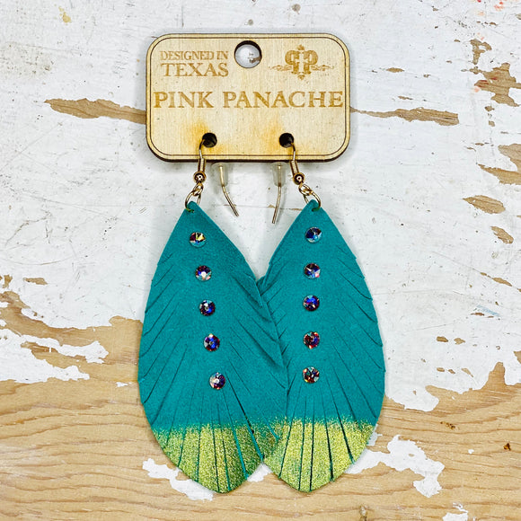 Turquoise Leather Dipped Feather Pink Panache Earrings
