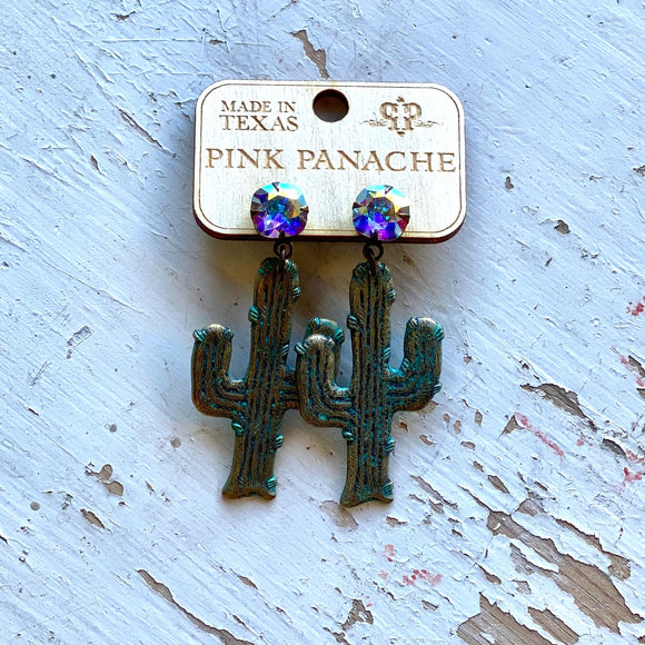Pink Panache Turquoise Cactus Earrings