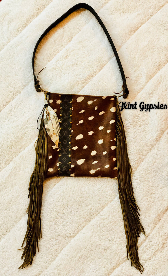 Keep It Gypsy Axis Hide Leather LV Accent Cross Body Bag