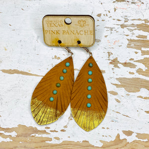 Saddle Tan Leather Dipped Feather Pink Panache Earrings