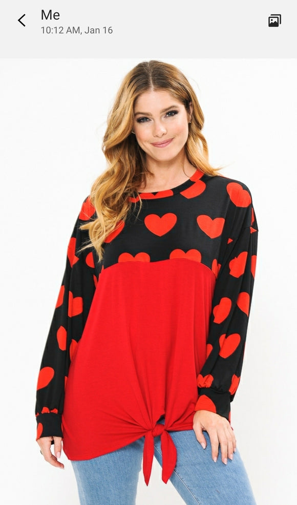 Red and Heart Twist Front Womens Top