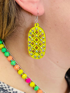 Highlighter Yellow Marisol Earrings by Sagebrush Sally's