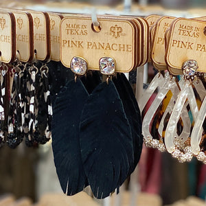Pink Panache Black Leather Feather Earrings