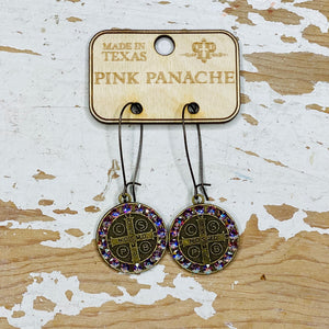 Crystal and Coin Pink Panache Earrings