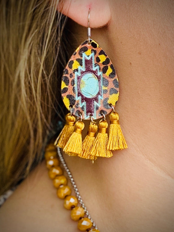 Mustard Pendleton Earrings by Sagebrush Sally's