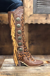 Leopard and Fringe Cowboy Boots by L&B