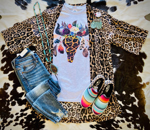 Leopard Steer Womens Tee
