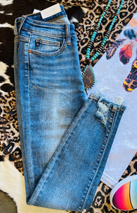I Love You Jenny Distressed Hem Jeans by Judy Blue