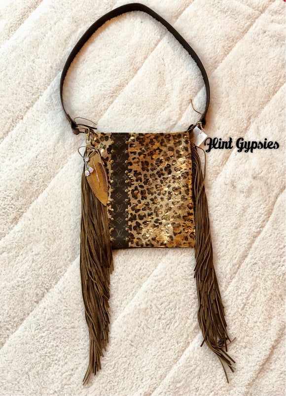 Keep It Gypsy Gold Leopard CowHide Leather LV Accent Cross Body Bag