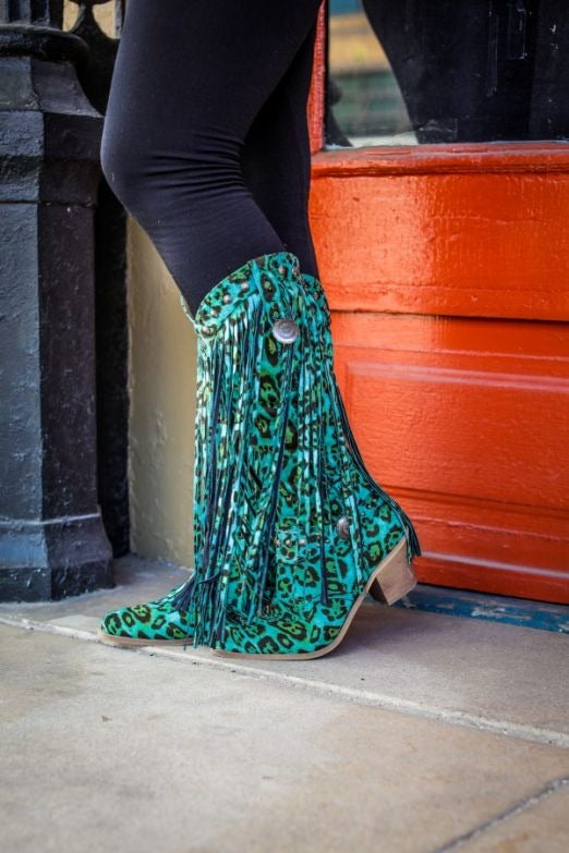 Turquoise Fringed Leopard Cowboy Boots by L&B
