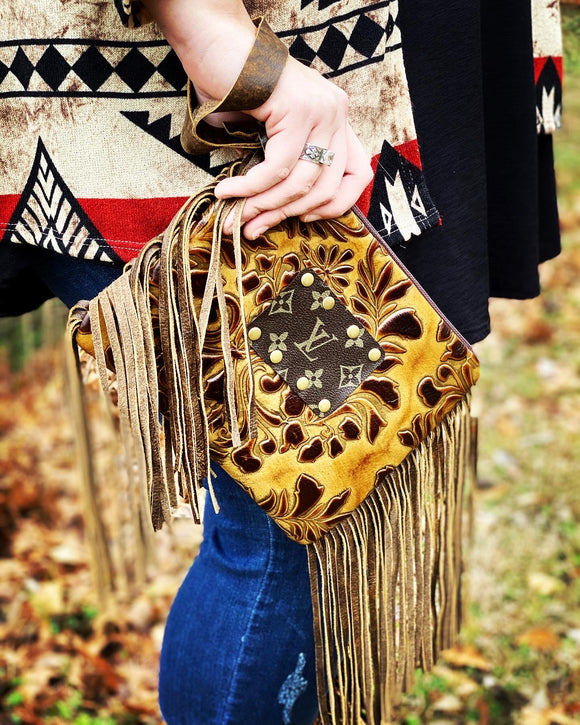Keep It Gypsy Tooled Leather LV Accent Wristlet