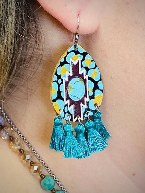 Turquoise Pendleton Earrings by Sagebrush Sally's