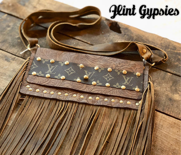 Keep It Gypsy Leather LV Accent Cross Body Convertible Purse