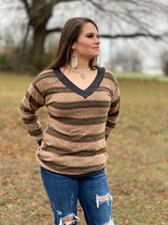 Tan and Brown Stripe V-Neck