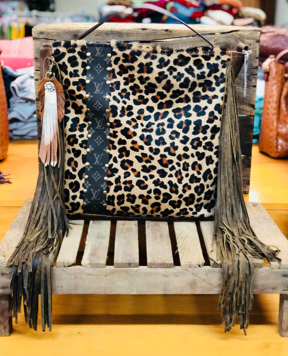 Keep It Gypsy Leopard Cowhide Leather LV Accent Bag Purse