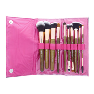 10 Piece Premium Makeup Brush Set with Travel Holder