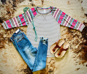 Stripe Aztec Womens Top