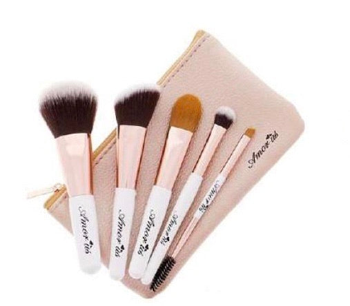 5 piece Makeup Brush Set with Travel Holder