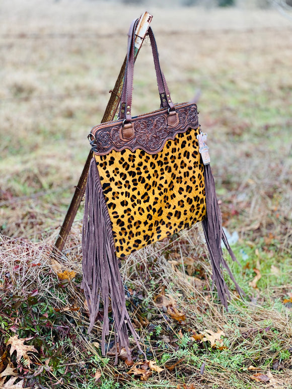 Tooled Leopard Cowhide Leather Purse