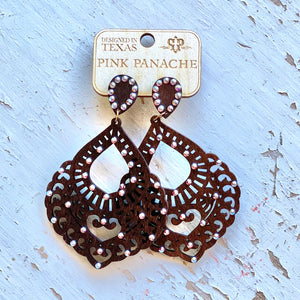 Pink Panache Brown Wood Scroll Earrings