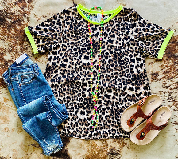Leopard and Lime Women's Top