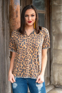 Leopard Stockyards Womens Shirt by L&B